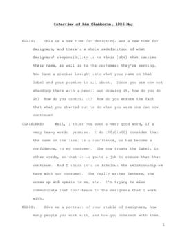 Liz Claiborne interview, 1986 May