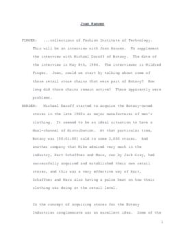 Joan Hansen interview about Michael Daroff and Botany, 1984 May 08