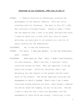 Liz Claiborne interview, 1990 July 10 and 17