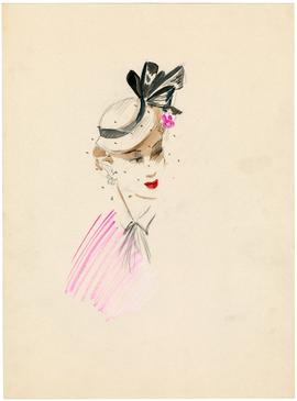Millinery design by Esther Klepper for Hattie Carnegie, Inc.; Grey Flat Top Hat with Bows and Flower