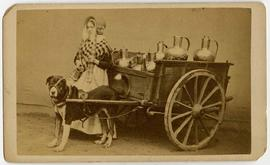 [Carte-de-visite depicting milk maid woman and her dog]