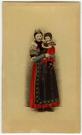 [Hand-colored carte-de-visite depciting a woman and child in ethnic costume]
